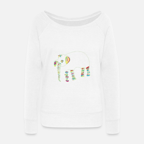 Luck Hoodies & Sweatshirts - Joyful elephant - Women's Wide-Neck Sweatshirt white