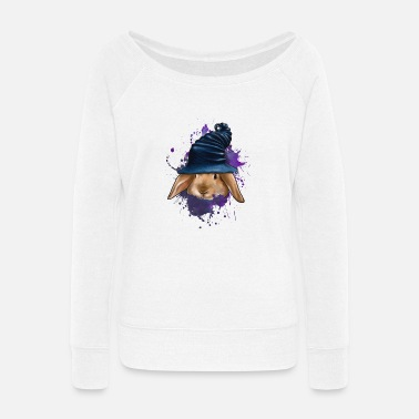 Cute Bunny Rabbit - Women's Wide-Neck Sweatshirt