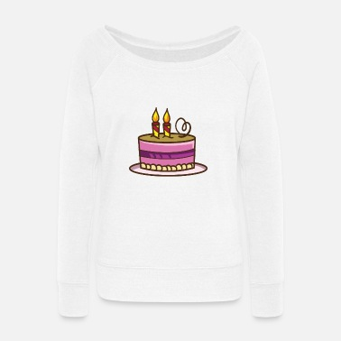 Birthday Cake Birthday Cake - Women's Wide-Neck Sweatshirt