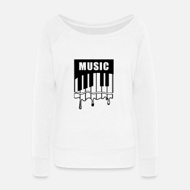 Piano MUSIC PIANO - Women's Wide-Neck Sweatshirt