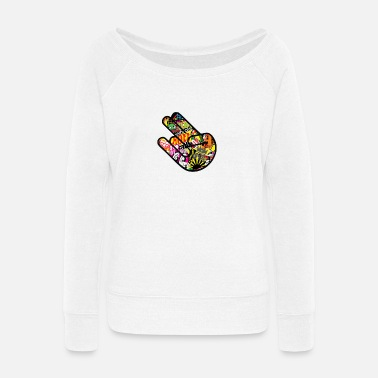 Jdm JDM HAND STICKERBOMB - Women's Wide-Neck Sweatshirt