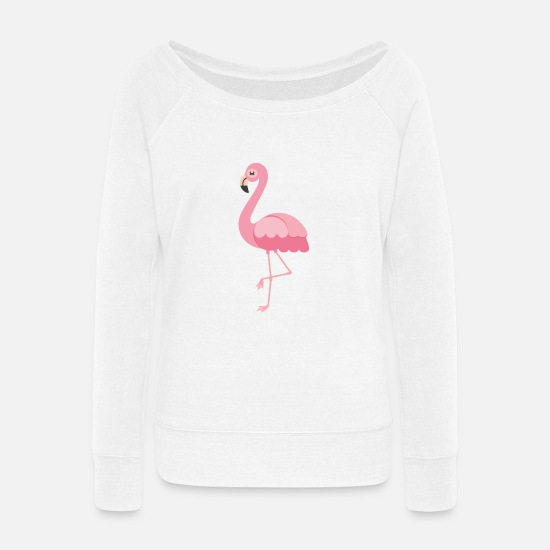 Flamingo Hoodies & Sweatshirts - flamingo - Women's Wide-Neck Sweatshirt white