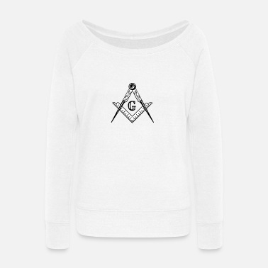 Square Masonic Square and Compasses - Women's Wide-Neck Sweatshirt