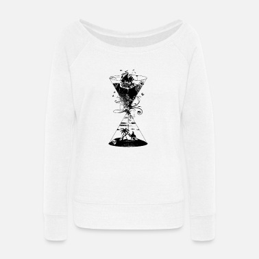 Geometric surreal hourglass -ocean and desert- - Women's Wide-Neck Sweatshirt
