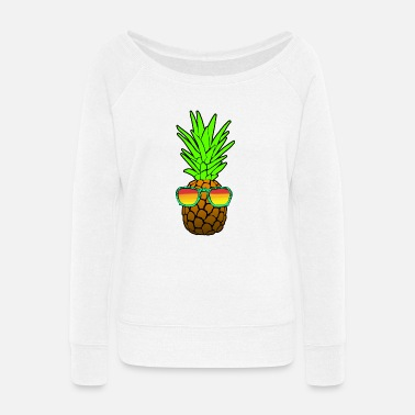 Sunglasses Pineapple With Sunglasses - Women's Wide-Neck Sweatshirt