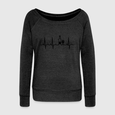 Wine wein heartbeat - Women's Wideneck Sweatshirt