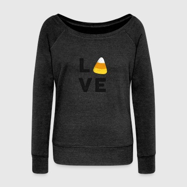 Love Candy Corn Halloween TShirt Trick or Treat Party Gift - Women's Wideneck Sweatshirt