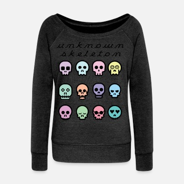 Unknown Skeleton Pastel Colored Skulls - Women's Wide-Neck Sweatshirt