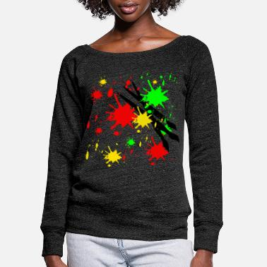Paint Brush abstract art colour paint colourful brush - Women's Wide-Neck Sweatshirt