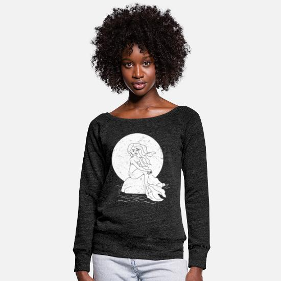 With Hoodies & Sweatshirts - Mermaid is sitting in the sea on stone with sun - Women's Wide-Neck Sweatshirt heather black