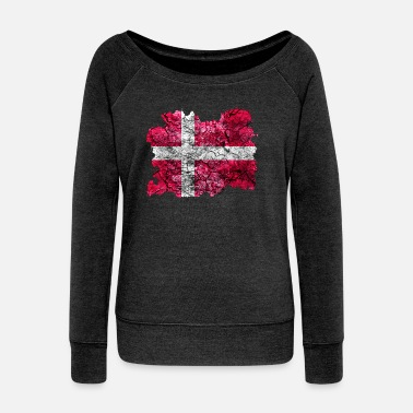 Denmark Denmark Vintage Flag - Women's Wide-Neck Sweatshirt