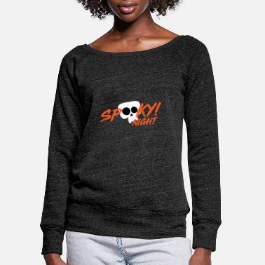 Spooky Night Halloween Tees - Women's Wide-Neck Sweatshirt