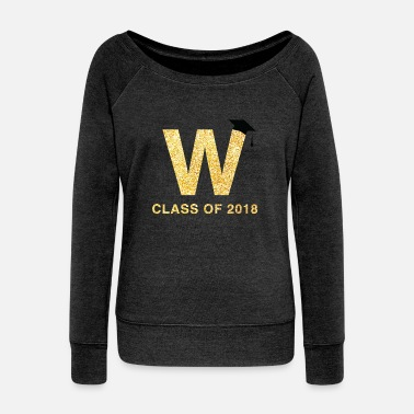 Glitter Class of 2018 Last Name Letter W Graduation Shirt - Women's Wide-Neck Sweatshirt