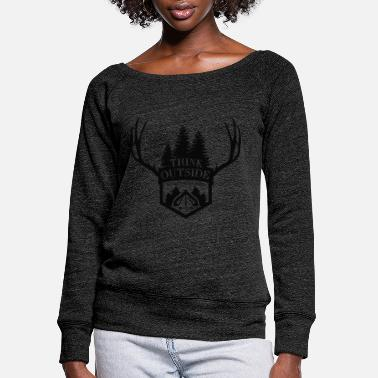 Think Think outside - Think Outside - No box required! - Women's Wide-Neck Sweatshirt