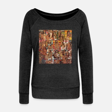 Nudity CCC NaughtyCollage - Women's Wide-Neck Sweatshirt