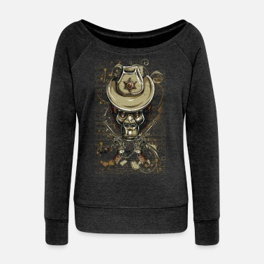 Revolver Gorilla Sheriff - Women's Wide-Neck Sweatshirt