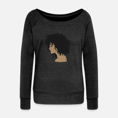 African American My Afro - Natural Hair - Afrocentric Gift - Women's Wideneck Sweatshirt