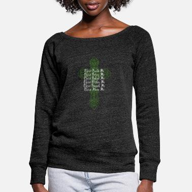 Day Of Prayer And Repentance St Patrick'S Day Celtic Cross Prayer Christian Att - Women's Wide-Neck Sweatshirt