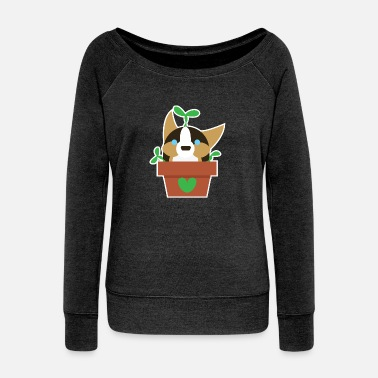 Tri Potted Corgi Plant - Women's Wide-Neck Sweatshirt