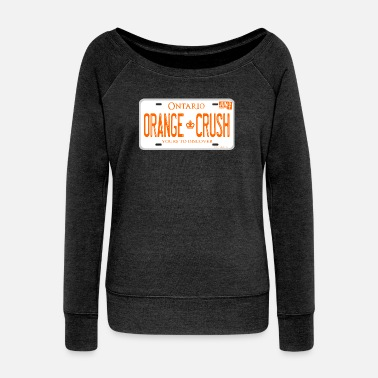 ONTARIO NDP ORANGE CRUSH LICENCE PLATE - Women's Wide-Neck Sweatshirt