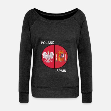 Size Poland and Spain Mixed Heritage Pie Chart - Women's Wideneck Sweatshirt