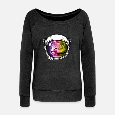 Lo Fi astronaut rainbow cat kitty sci-fi space helmet Lo - Women's Wideneck Sweatshirt
