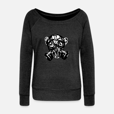 Mask Monkey with gas mask as a gift - Women's Wideneck Sweatshirt
