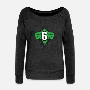 Hulk Green Superhero Comic Cartoon 6 Year Old Birthday - Women's Wideneck Sweatshirt