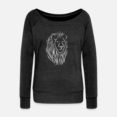 Christian &amp Lion Face Head Portrait - King Of The Jungle - Women's Wide-Neck Sweatshirt
