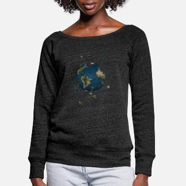 Puzzleday Earth - Women's Wide-Neck Sweatshirt