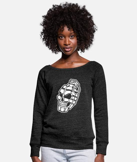 Graphic Art Hoodies & Sweatshirts - Skull Grenade - Women's Wide-Neck Sweatshirt heather black