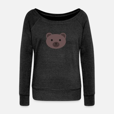 Brown wild bear polar teddy bears brown grizzly panda ba - Women's Wide-Neck Sweatshirt