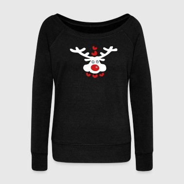 Christmas Christmas reindeer  hearts vector art - Women's Wideneck Sweatshirt