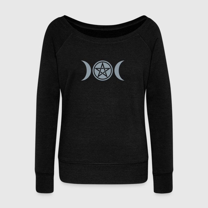 Wicca triple moon - Goddess symbol - Pentagram - Women's Wideneck Sweatshirt