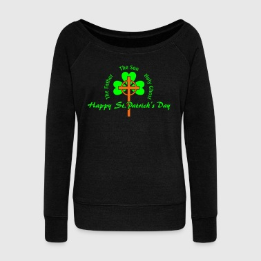St. Patrick's Day Cross Irish - Women's Wideneck Sweatshirt
