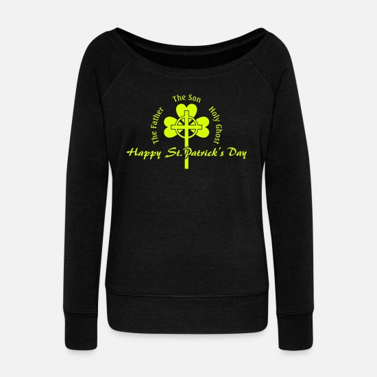 Irishcontest Hoodies & Sweatshirts - St. Patrick's Day Cross Irish - Women's Wide-Neck Sweatshirt black