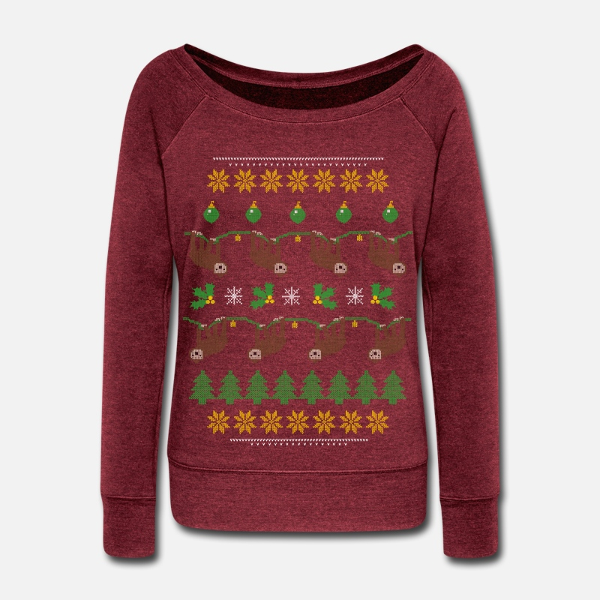 Sloth Ugly Christmas Sweater.Sloth Ugly Christmas Sweater Women S Wideneck Sweatshirt Cardinal Triblend