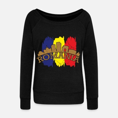 Language Romania gift Bucharest Transylvania Romanian - Women's Wideneck Sweatshirt