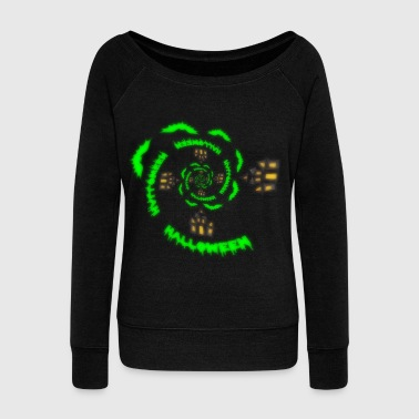 Creepy Halloween scary castle bat colorful - Women's Wideneck Sweatshirt