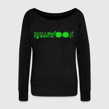 Sour Halloween pumpkin pumpkins face green - Women's Wideneck Sweatshirt