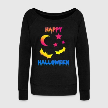 Blues Happy Halloween Night moon stars fear - Women's Wideneck Sweatshirt
