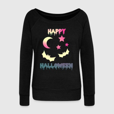 Bat Happy Halloween bats bat scary night - Women's Wideneck Sweatshirt