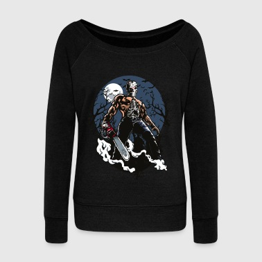 Chainsaw Killer Jason Freddy Mask Halloween zombie - Women's Wideneck Sweatshirt