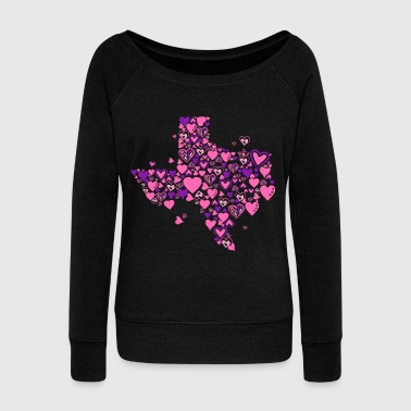 Texas Texas – 100 Hearts Design - Women's Wideneck Sweatshirt