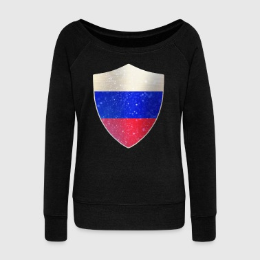 Friends The Show Russia Flag Shield - Women's Wideneck Sweatshirt