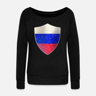 Police Officer Russia Flag Shield - Women's Wideneck Sweatshirt