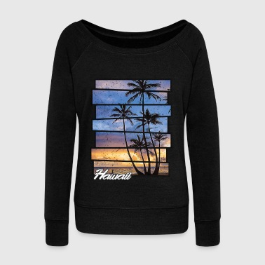 Hawaii Beach Hawaiian Sunset Retro Photo Island Paradise - Women's Wideneck Sweatshirt