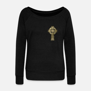 Celtic Cross Celtic cross - Women's Wide-Neck Sweatshirt