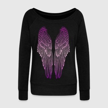 Guardian Angel Long Pink Wings - Women's Wideneck Sweatshirt