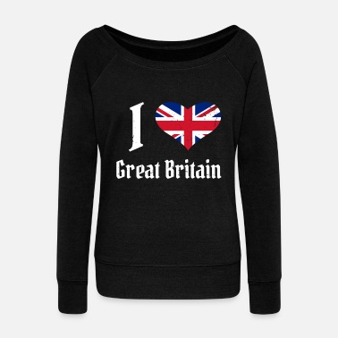 Tower Bridge England United Kingdom Flag Country London heart - Women's Wideneck Sweatshirt